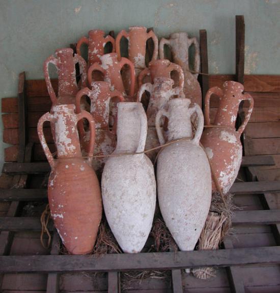 Amphorae on display in Bodrum Castle, Turkey