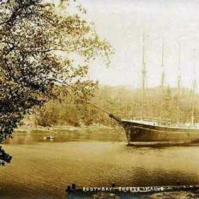 Four masted ship at anchor