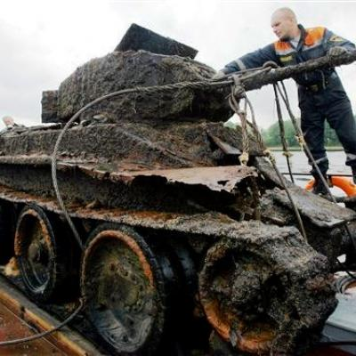 A tank recovered from a lake near St Petersburg