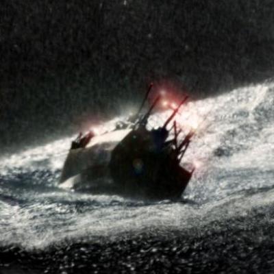 A ship in the cold ocean