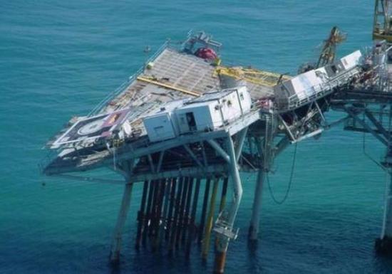 A derelict offshore platform