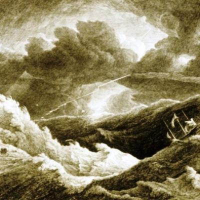 Shipwreck in the heavy sea