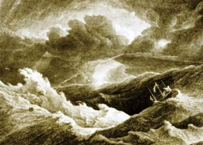 Shipwreck in the heavy sea