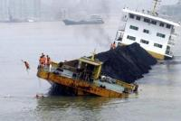 A  shipwrecked barge