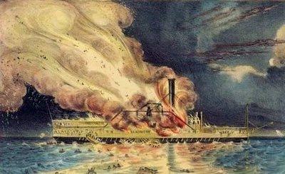 Steamer on fire
